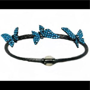 Sterling Silver Turquoise Butterfly Bangle